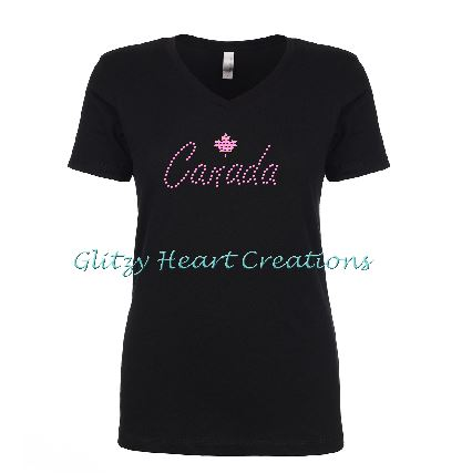 Canada and Maple Leaf Rhinestone Design Black T-Shirt