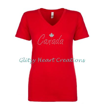 Canada and Maple Leaf Rhinestone Design Red T-Shirt