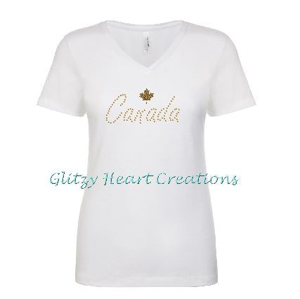Canada and Maple Leaf Rhinestone Design White T-Shirt