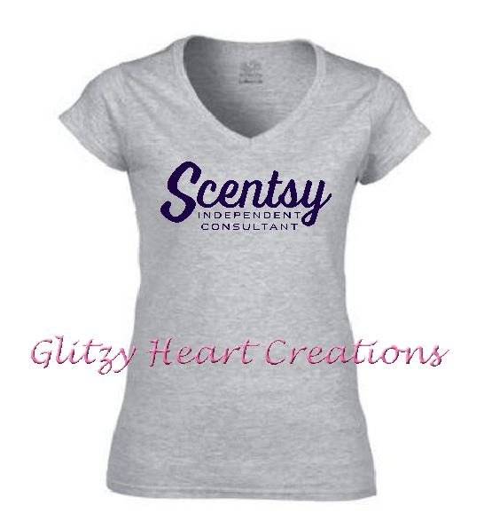 Authorized Scentsy Vendor - Ladies V neck T shirt with Scentsy Script Logo - Grey vneck shirt