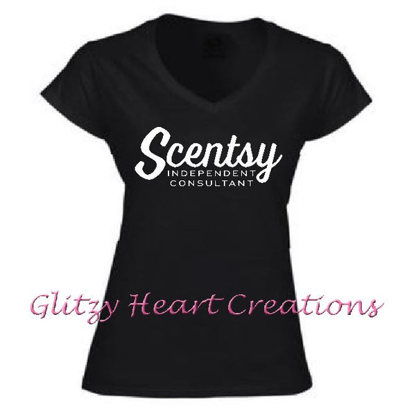 Ladies V neck T shirt with Scentsy Script Logo - Black vneck shirt