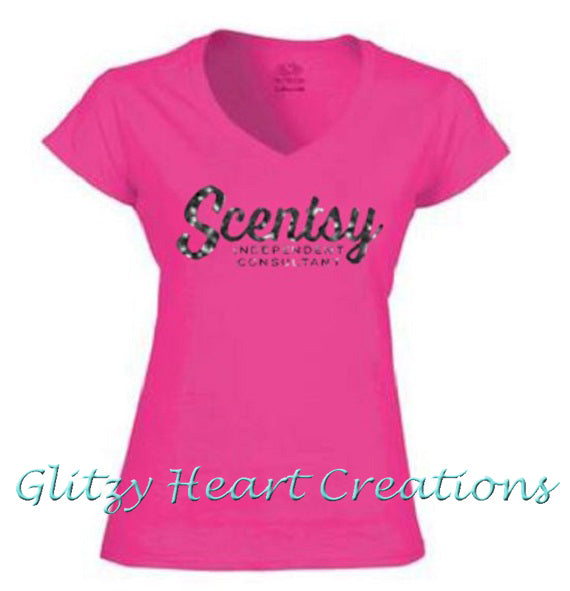 Ladies V neck T shirt with Scentsy Script Logo - Pink vneck shirt