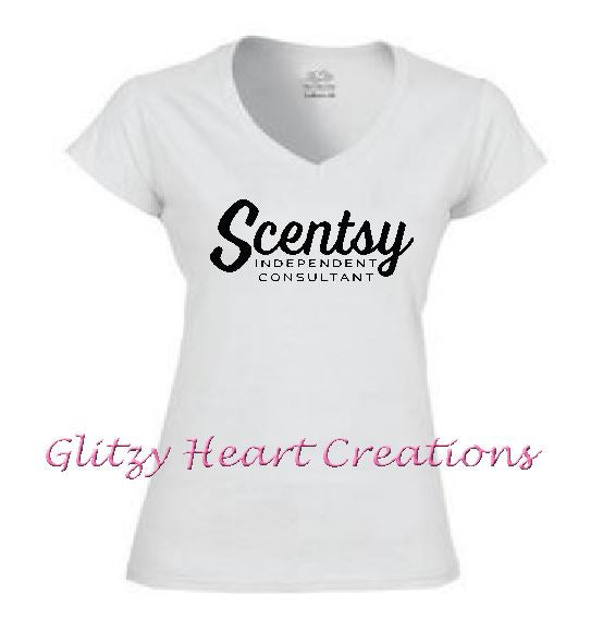 Ladies V neck T shirt with Scentsy Script Logo - White vneck shirt