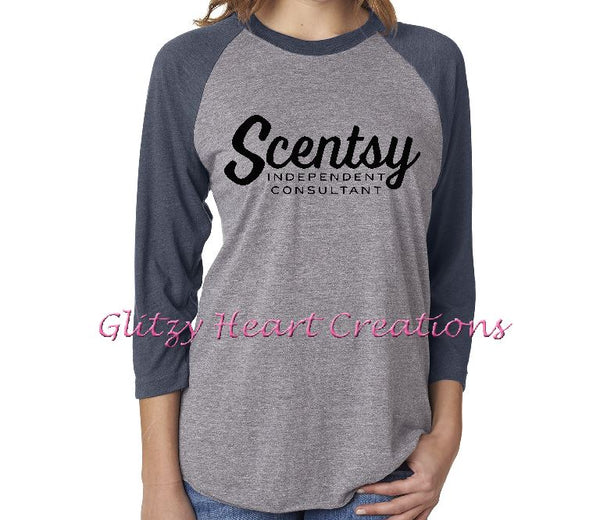 Authorized Scentsy Vendor - Unisex Baseball Shirt 3/4 Sleeve with Scentsy Script Logo
