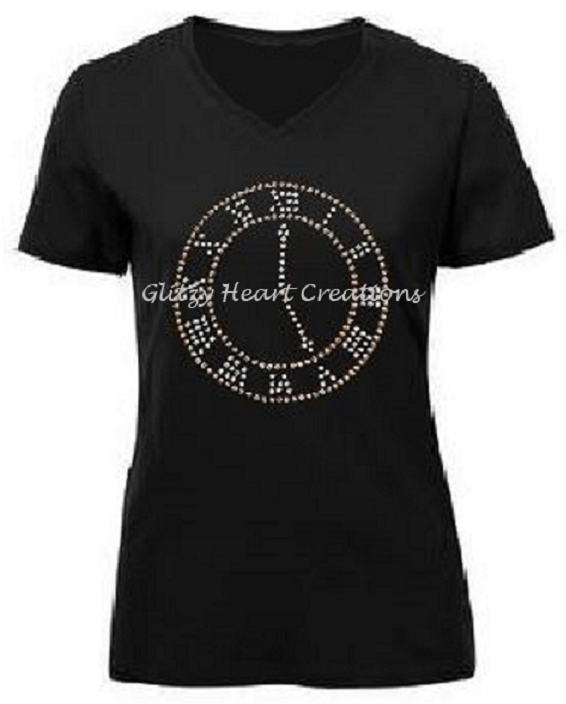 Subtle 5 O'Clock Rhinestone Design T-Shirt