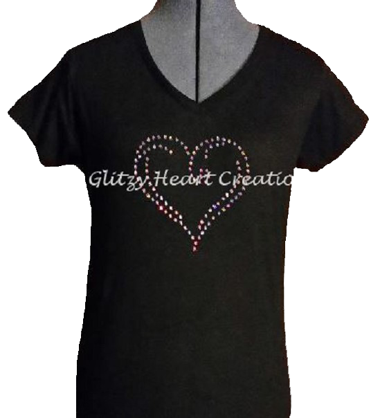 Swirly Heart Rhinestone T-Shirt