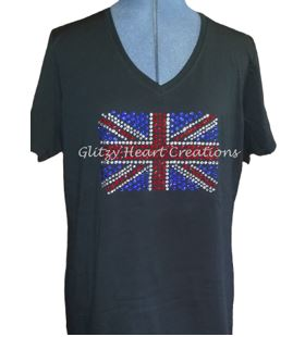 Union Jack Design Rhinestone T-Shirt