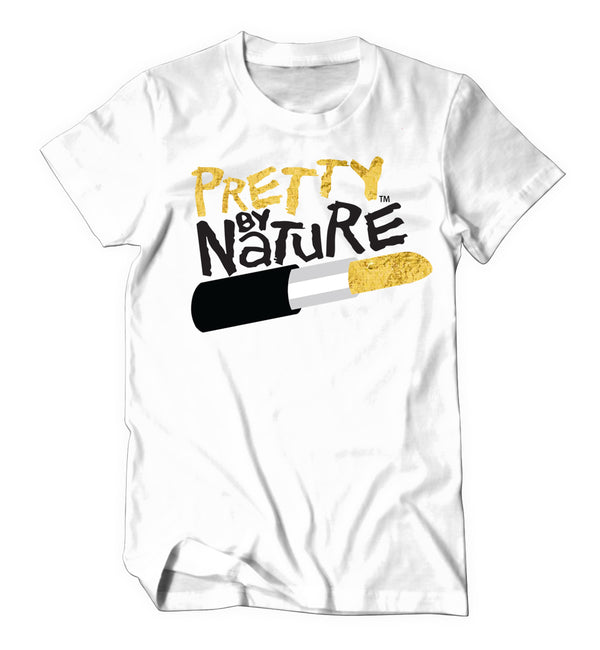 Pretty By Nature Fitted Shirt (White/Gold/Black)