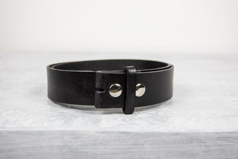 "Handmade Black Leather 1.5"" Snap Belt"