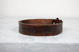 "Handmade Brown Leather 1.5"" Snap Belt"