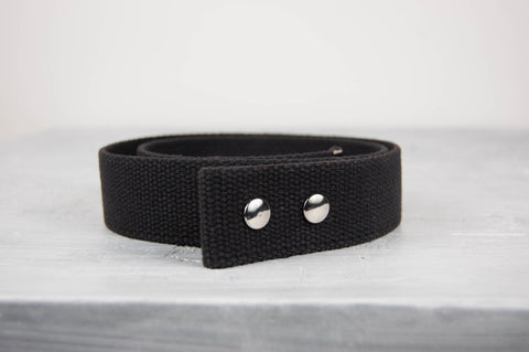 "Black Waxed Cotton Belt - 1.5"" Snap Belt"
