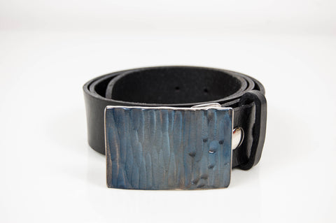 Blue Stainless Steel Belt Buckle with Hammered Texture