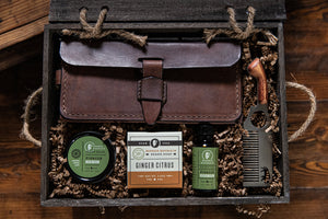 Grooming Kit w/ Antique Saddle Brown Bag