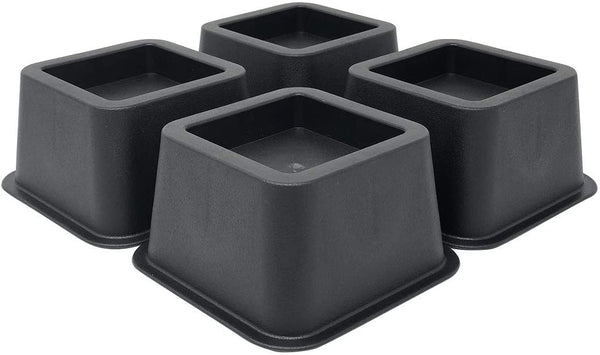 DuraCasa Bed Risers - Raises Your Bed or Furniture to Create an Additional 2 Inches of Storage! Reinforced New Heavy-Duty Design to Hold Over 2000 LBS! Desk or Sofa Lift (Black 4 Pack)