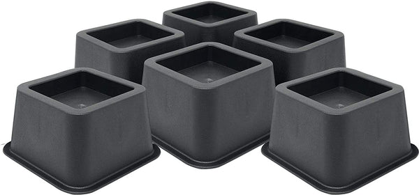 DuraCasa Bed Risers - Raises Your Bed or Furniture to Create an Additional 2 Inches of Storage! Reinforced New Heavy-Duty Design to Hold Over 2000 LBS! Desk or Sofa Lift (Black 6 Pack)