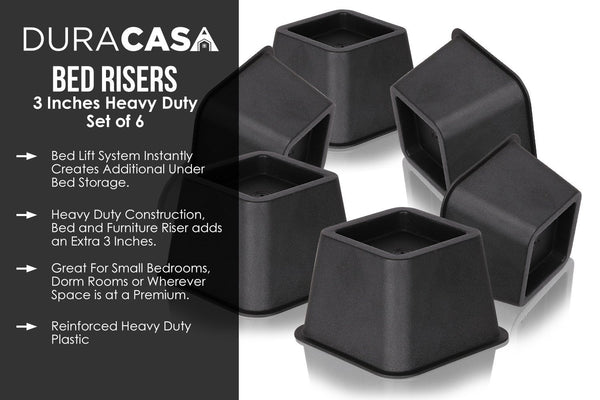 DuraCasa Bed Risers or Furniture Riser 6 Pack - Raises 3 Inches in Height (3 Inch, Set of 6)