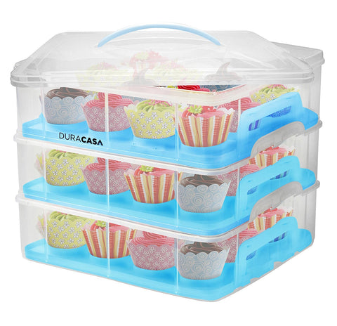 DuraCasa Cupcake Carrier | Cupcake Holder | Store up to 36 Cupcakes or 3 Large Cakes | Stacking Cupcake Storage Container | Cupcake, Cookie, Muffin or Cake Dessert Carrier (3 Tier Blue)