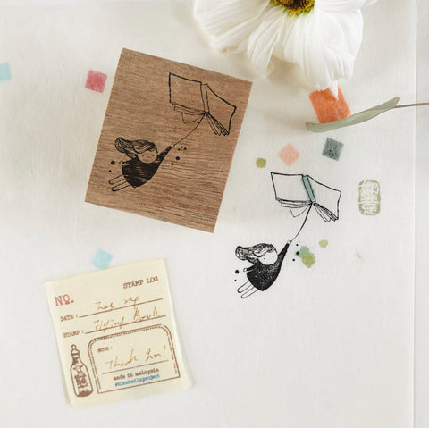 Black Milk Project Original Rubber Stamp - Flying Book