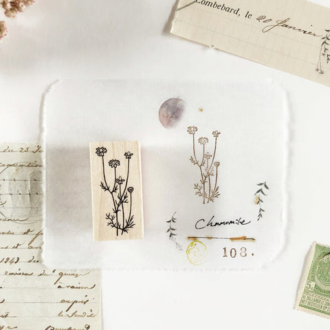 Hutte Paper Works Botanical Rubber Stamp - Chamomile