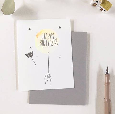 Lark Press Birthday Card - Watercolor Ballon