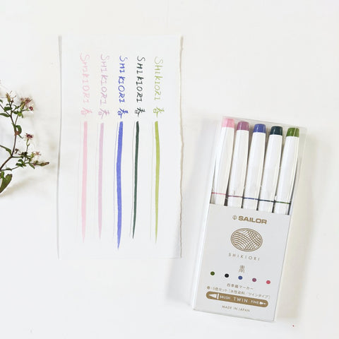 Sailor SHIKIORI Dual Tip Brush Pen Set - Spring