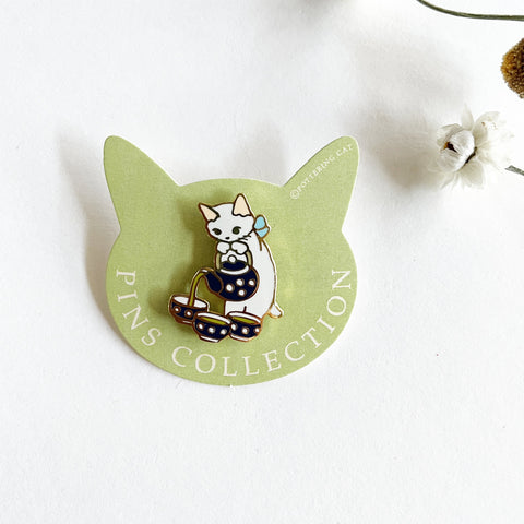 Pottering Cat Enamel Pin - Tea Time