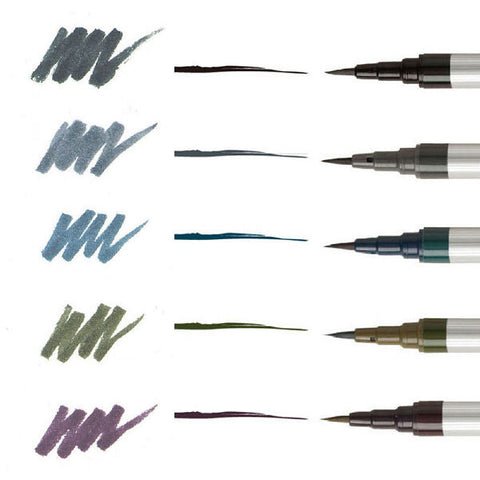 AKASHIYA Sai Extra-Fine Brush Pen - 5 Color Set