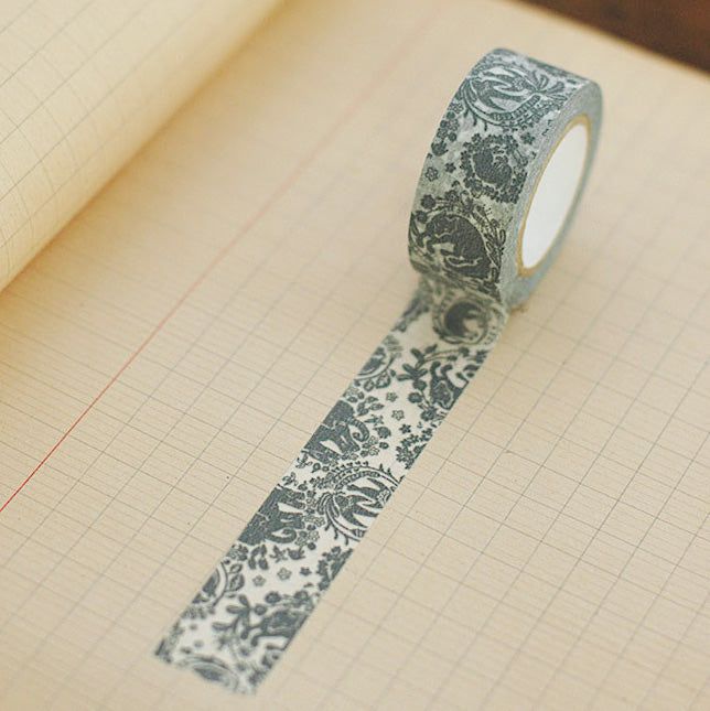 Classiky x Mihani Bookstore Washi Tape - Surrounding with Flower(grey)