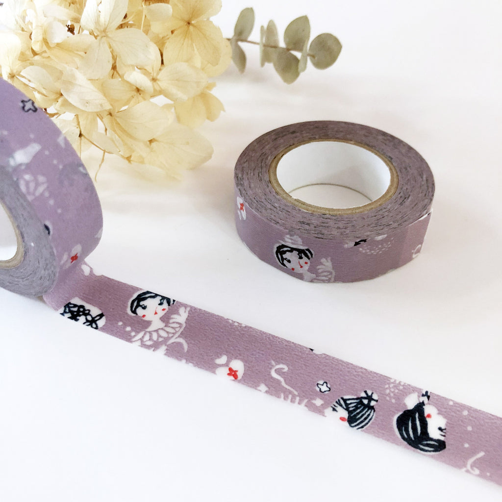 Mihoko Seki Little Girl Washi Tape - Purple-niconeco zakkaya