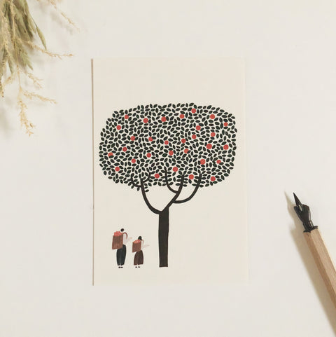 Necktie Letterpress Postcard - Mother & Daughter-niconeco zakkaya