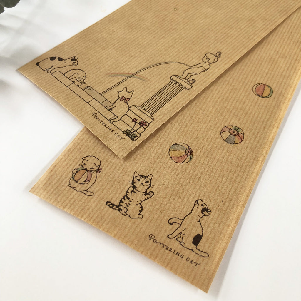 Pottering Cat Muscle Kraft Envelope Set - Paper Ballon-niconeco zakkaya
