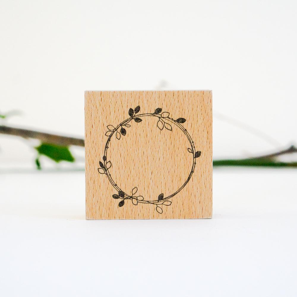 SJ Original Botanical Rubber Stamp - Leaf wreath-niconeco zakkaya