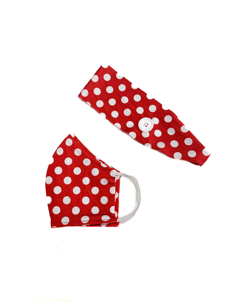 Combo Minnie Dot Face Mask with Matching Headband