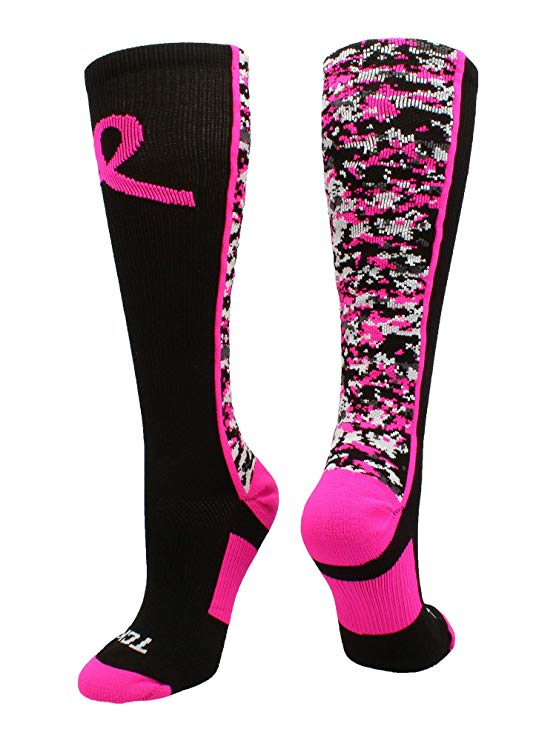 Breast Cancer Awareness Digital Camo Compression Socks