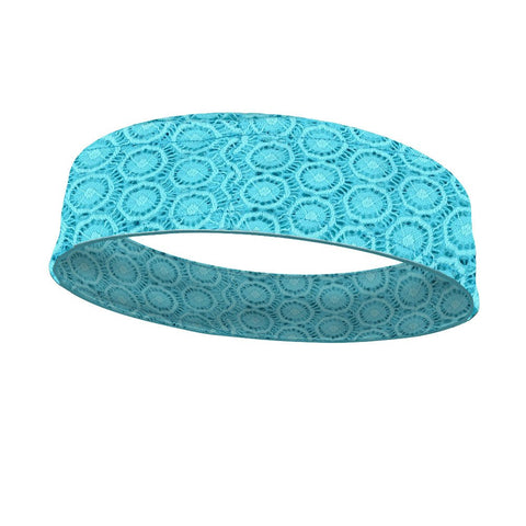 Teal Lace Fashion and White Wicking Reversible Headband