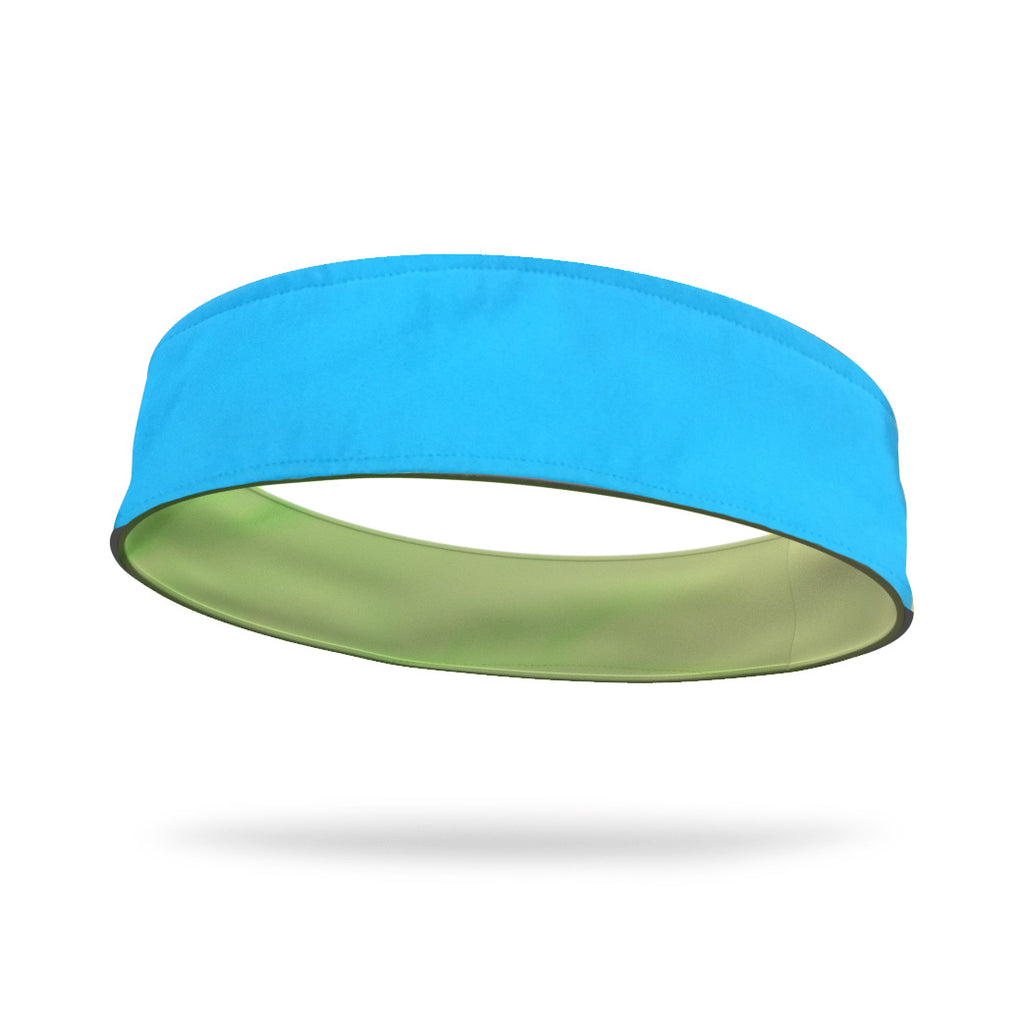 Aqua and Neon Green Wicking Reversible Headband