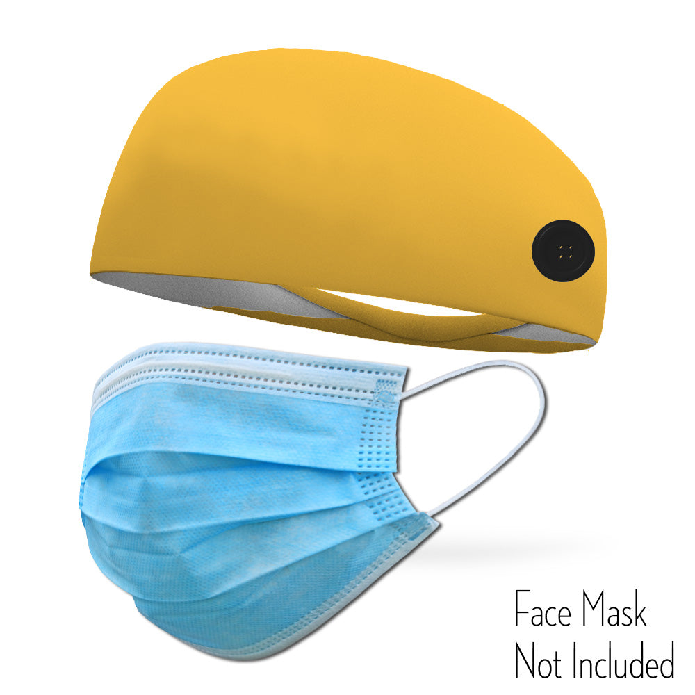 Athletic Yellow Headband with Buttons To Attach Medical Face Masks (Headband only Mask Not Included)
