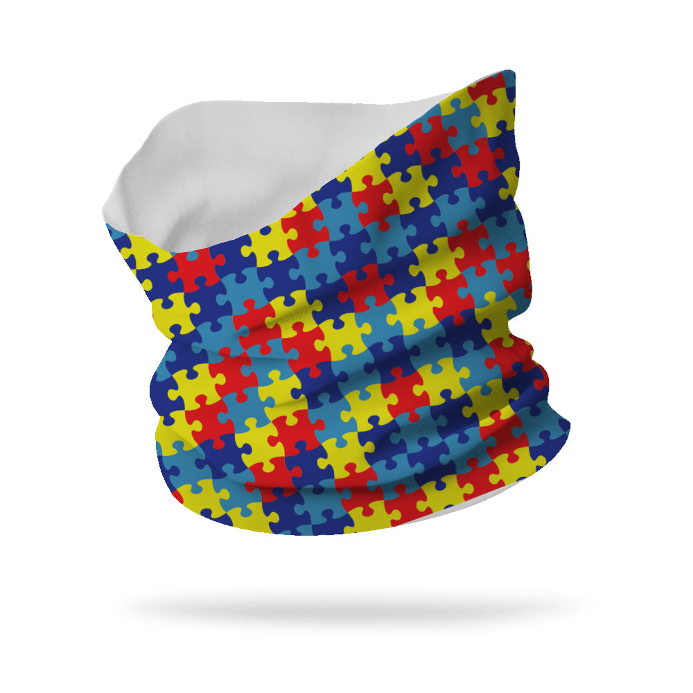 "Lycra Puzzle Pieces Autism Awareness Neck Gaiter (12"" length)"