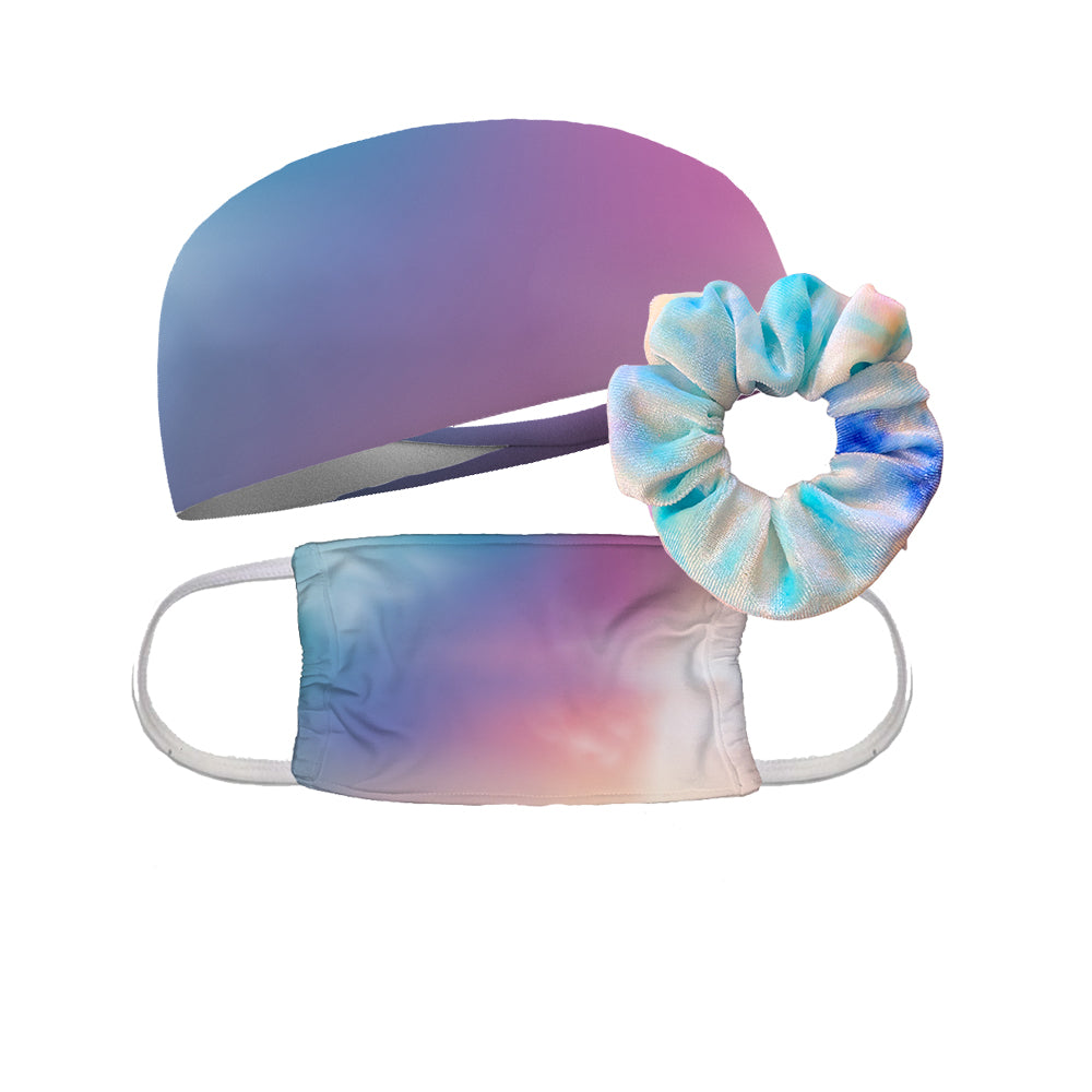 Combo Blue Cloud Scrunchie, Mask and Headband Wicking Headband