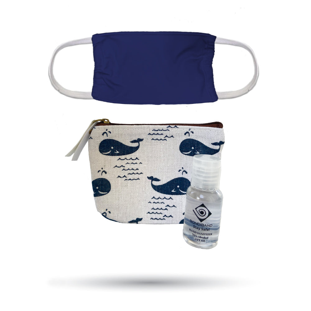 Blue Whale Pouch, Navy Face Mask and Hand Sanitizer Safety Pack