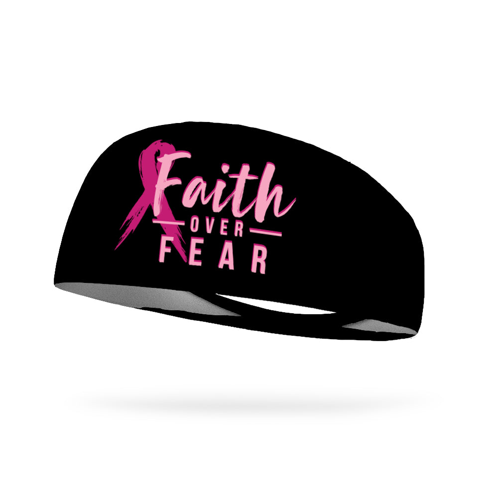 Breast Cancer Awareness Faith Over Fear Performance Wicking Headband