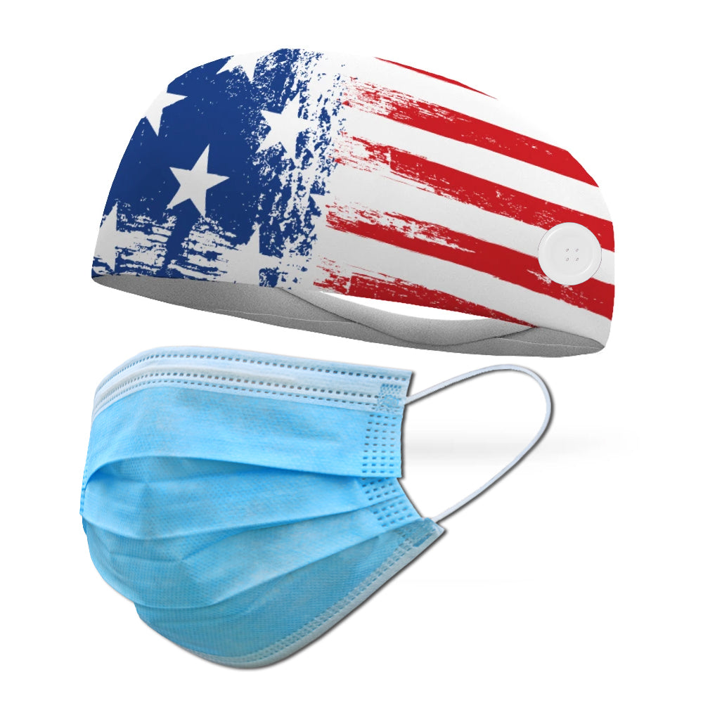 Country Honor Wicking Button Headband to Loop Your Medical Face Masks Onto (Mask Not Included Headband Only)