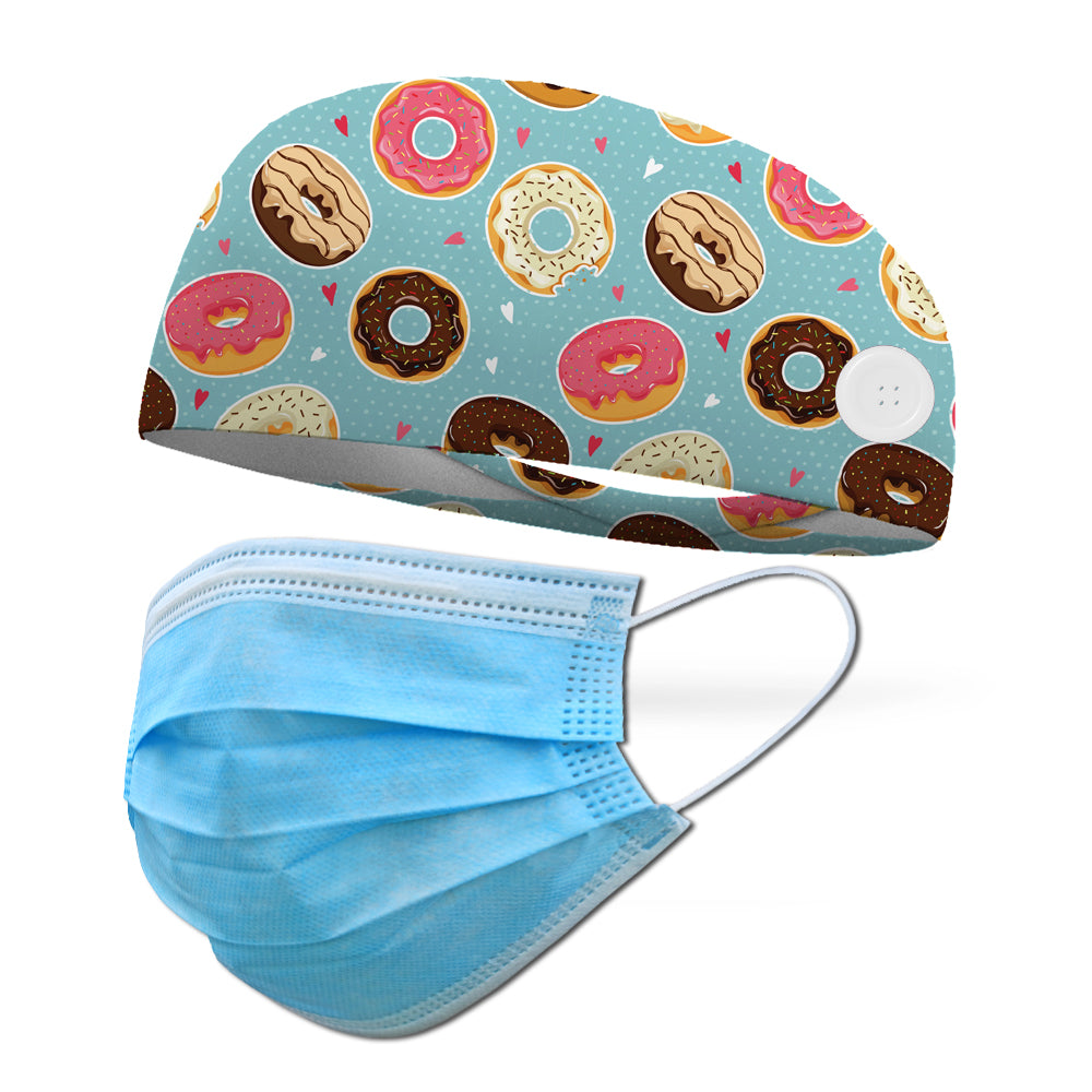 Donut Shop Wicking Button Headband to Loop Your Medical Face Masks Onto (Mask Not Included Headband Only)