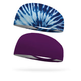 Combo 1 Earth Day Groovy Tie Dye, 1 Solid Eggplant Wicking Headband