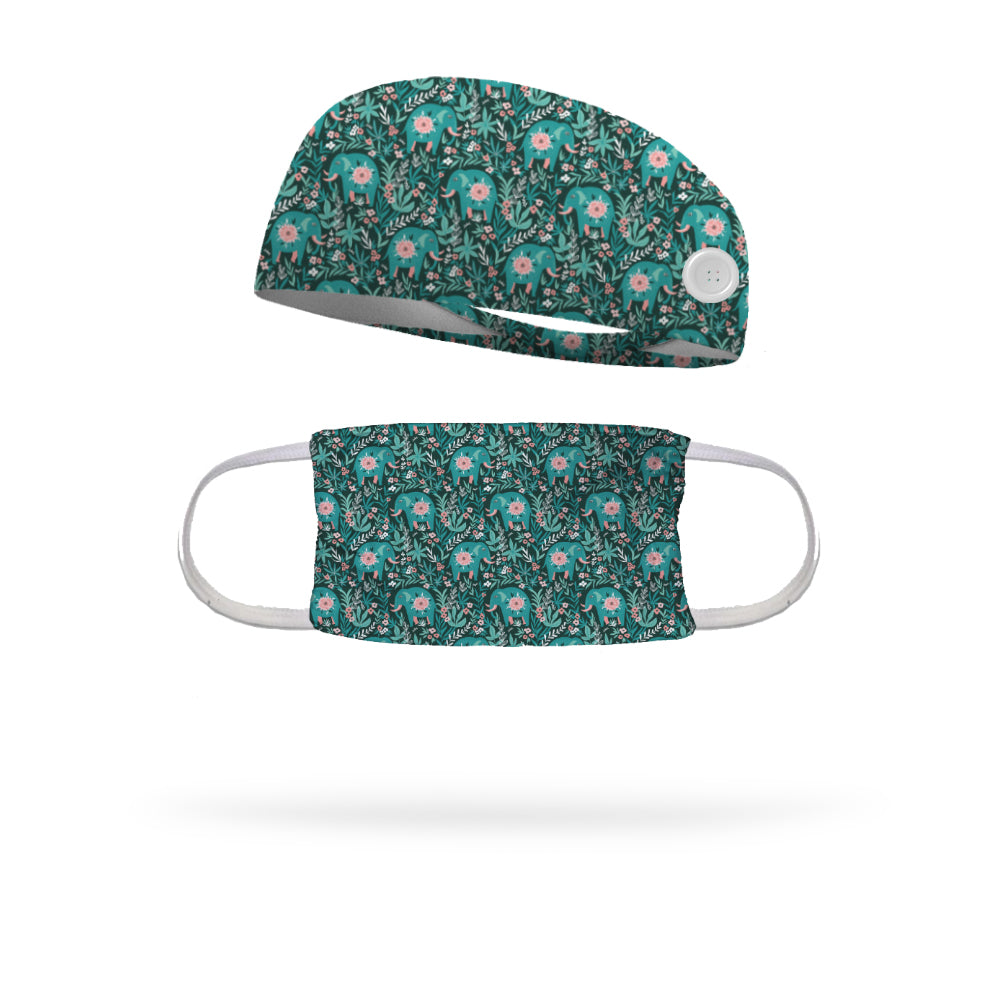 Elephants in the Garden Face Mask with Matching Headband