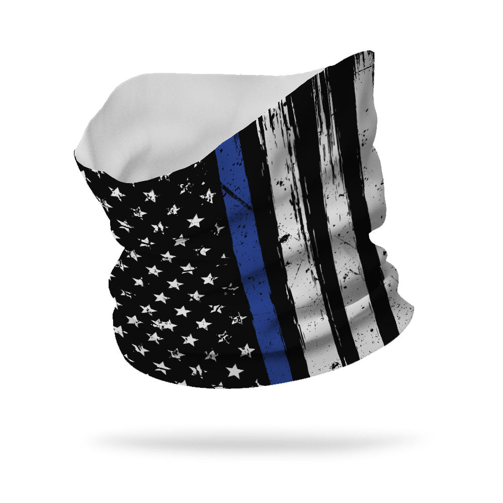"Essential Police Thin Blue Line Wicking Neck Gaiter 12"" Length"