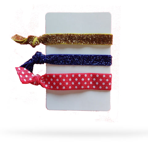 Blues and Red Jersey Pack of 5 Hair Ties