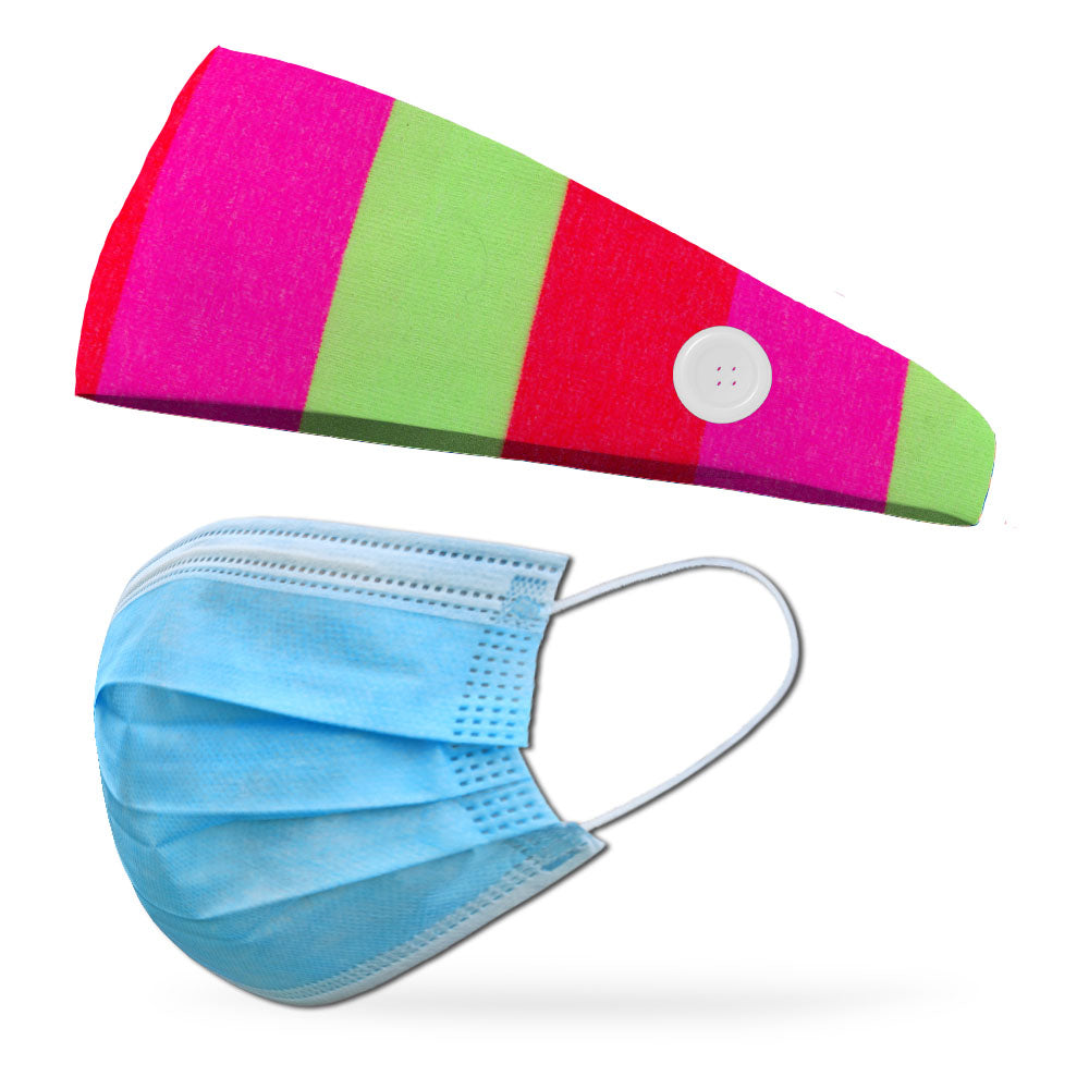 Fashion Gidget Button Headband to Loop Your Medical Face Masks Onto (Mask Not Included Headband Only)