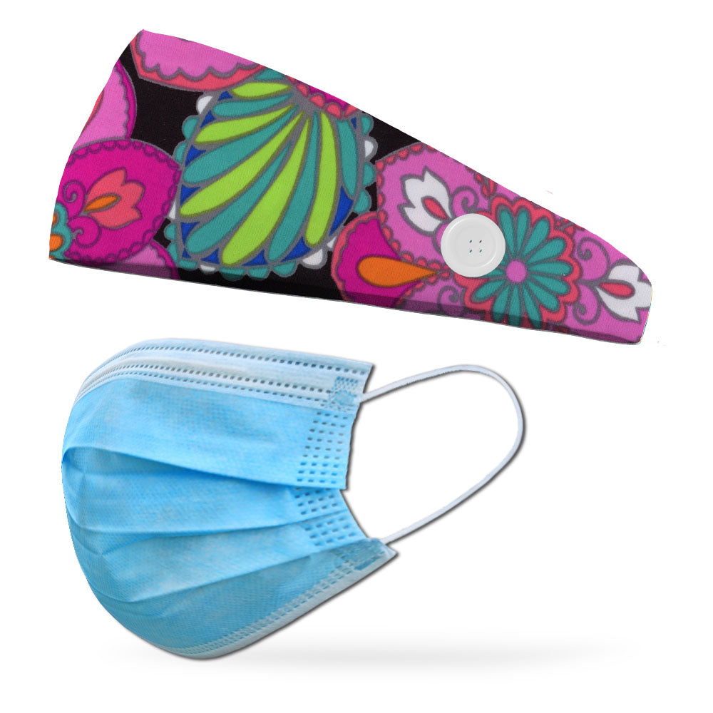 Fashion Mother India Button Headband to Loop Your Medical Face Masks Onto (Mask Not Included Headband Only)