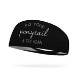 KristenGarzone Collection Fix Your Ponytail and Try Again Wicking Headband - Snowflake White Logo